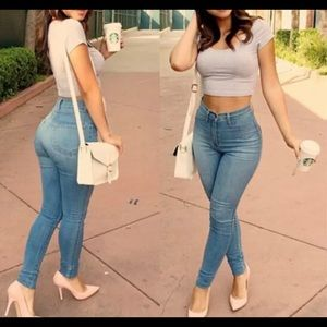 Denim - Women Lady Denim Skinny Pants High Waist Stretch J